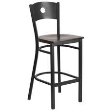 Black Circle Back Metal Restaurant Barstool with Walnut Wood Seat