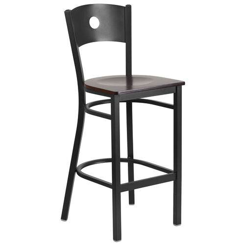 Our Black Circle Back Metal Restaurant Barstool with Walnut Wood Seat is on sale now.