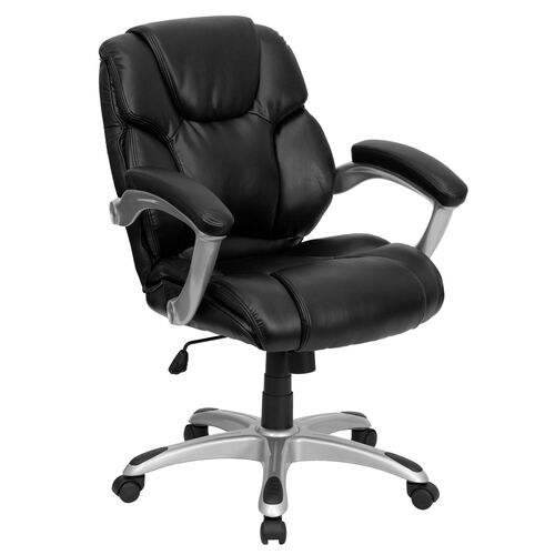 Our Mid-Back Black Leather Layered Upholstered Executive Swivel Ergonomic Office Chair with Silver Nylon Base and Arms is on sale now.