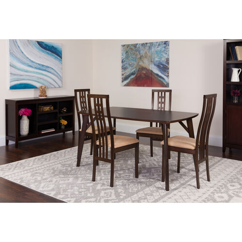 Our Halstead 5 Piece Espresso Wood Dining Table Set with High Triple Window Pane Back Wood Dining Chairs - Padded Seats is on sale now.