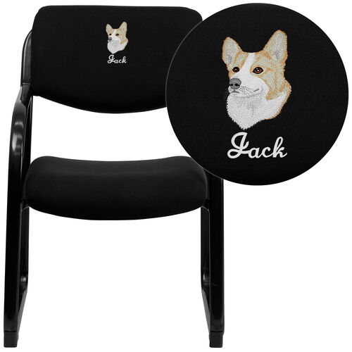 Embroidered Fabric Executive Side Reception Chair with Sled Base