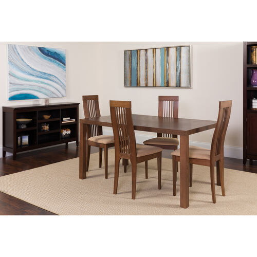 Our Eastcoate 5 Piece Walnut Wood Dining Table Set with Framed Rail Back Design Wood Dining Chairs - Padded Seats is on sale now.