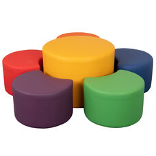 "Soft Seating Collaborative Flower Set for Classrooms and Common Spaces - Assorted Colors (12""H & 18""H)"