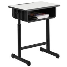 Student Desk with Grey Top and Adjustable Height Black Pedestal Frame