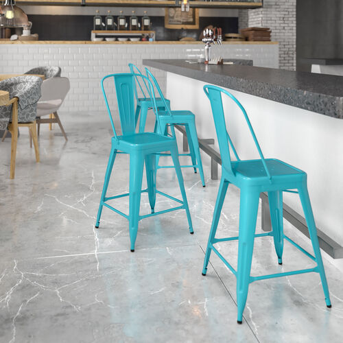 """Commercial Grade 24"""" High Metal Indoor-Outdoor Counter Height Stool with Back"""