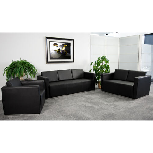 """HERCULES Trinity Series Reception Set in Black LeatherSoft with <span style=""""color:#0000CD;"""">Free </span> Tables"""