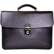 Kensington Single Gusset Briefcase with Suede Lining - Saffiano Genuine Leather - Black