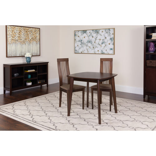 Our Bristol 3 Piece Espresso Wood Dining Table Set with Framed Rail Back Design Wood Dining Chairs - Padded Seats is on sale now.