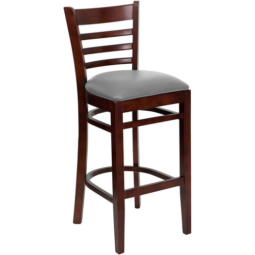 Our Mahogany Finished Ladder Back Wooden Restaurant Barstool with Custom Upholstered Seat is on sale now.