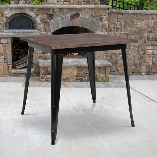 """Our 31.5"""" Square Black Metal Indoor Table with Walnut Rustic Wood Top is on sale now."""