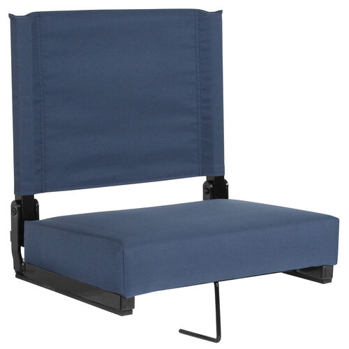 Our Grandstand Comfort Seats by Flash with Ultra-Padded Seat in Navy Blue is on sale now.