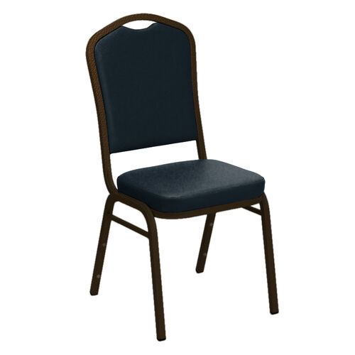 Our Embroidered Crown Back Banquet Chair in E-Z Vinyl - Gold Vein Frame is on sale now.