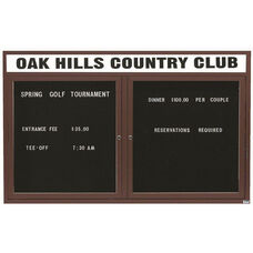 2 Door Outdoor Enclosed Directory Board with Header and Bronze Anodized Aluminum Frame - 36