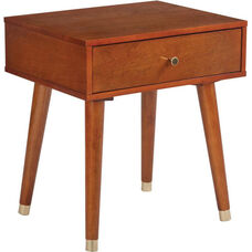 OSP Designs Cupertino Side Table with Drawer - Light Walnut