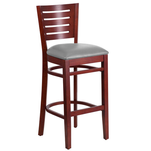 Our Mahogany Finished Slat Back Wooden Restaurant Barstool with Custom Upholstered Seat is on sale now.