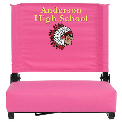 Personalized Grandstand Comfort Seats by Flash - 500 lb. Rated Stadium Chair with Handle & Ultra-Padded Seat, Pink