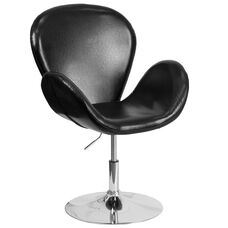 HERCULES Trestron Series Black Leather Side Reception Chair with Adjustable Height Seat
