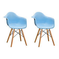 Paris Tower Arm Chair with Wood Legs and Blue Seat - Set of 2