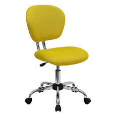 Mid-Back Yellow Mesh Padded Swivel Task Office Chair with Chrome Base