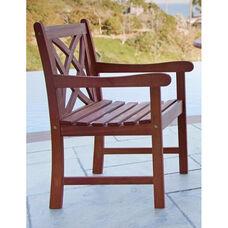 Malibu Outdoor Patio Wood Decorative Back Garden Armchair with Contour Slat Seat