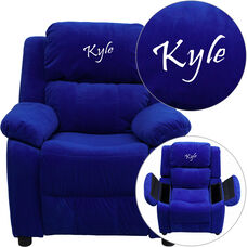 Personalized Deluxe Padded Blue Microfiber Kids Recliner with Storage Arms