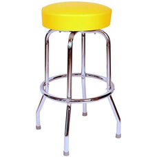 50's Retro Backless 24''H Swivel Bar Stool with Chrome Frame and Padded Seat - Yellow Vinyl