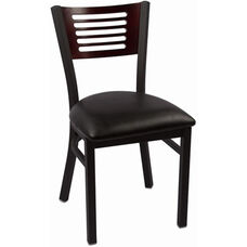 Jones River Series Wood Back Armless Chair with Steel Frame and Vinyl Seat - Mahogany