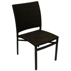 Oviedo Hand Polished Tubular Aluminum Stackable Side Chair - Expresso