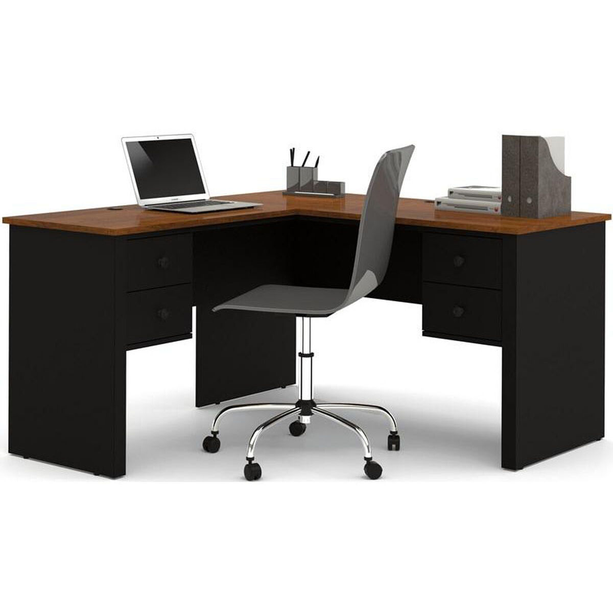 Our Somerville L Shaped Desk With File Drawer And Wire Management Black Tuscany
