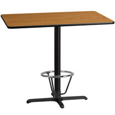 30'' x 48'' Rectangular Natural Laminate Table Top with 23.5'' x 29.5'' Bar Height Table Base and Foot Ring