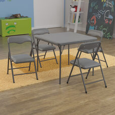 Kids Gray 5 Piece Folding Table and Chair Set