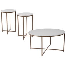 Hampstead Collection 3 Piece Coffee and End Table Set in White with Matte Gold Frames