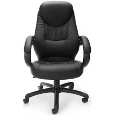 Stimulus Leatherette Executive High-Back Chair with Loop Arms - Black