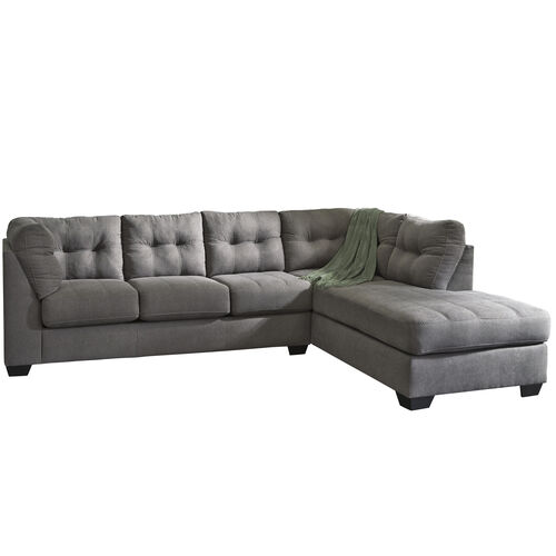 Our Benchcraft Maier Sectional with Right Side Facing Chaise in Charcoal Microfiber is on sale now.