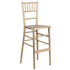 "HERCULES Series Gold Wood Chiavari Barstool with <span style=""color:#0000CD;"">Free </span> Cushion"