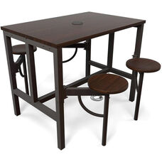 Endure Steel Frame Table with 4 Swivel Seats - Walnut Table Top and Walnut Seats