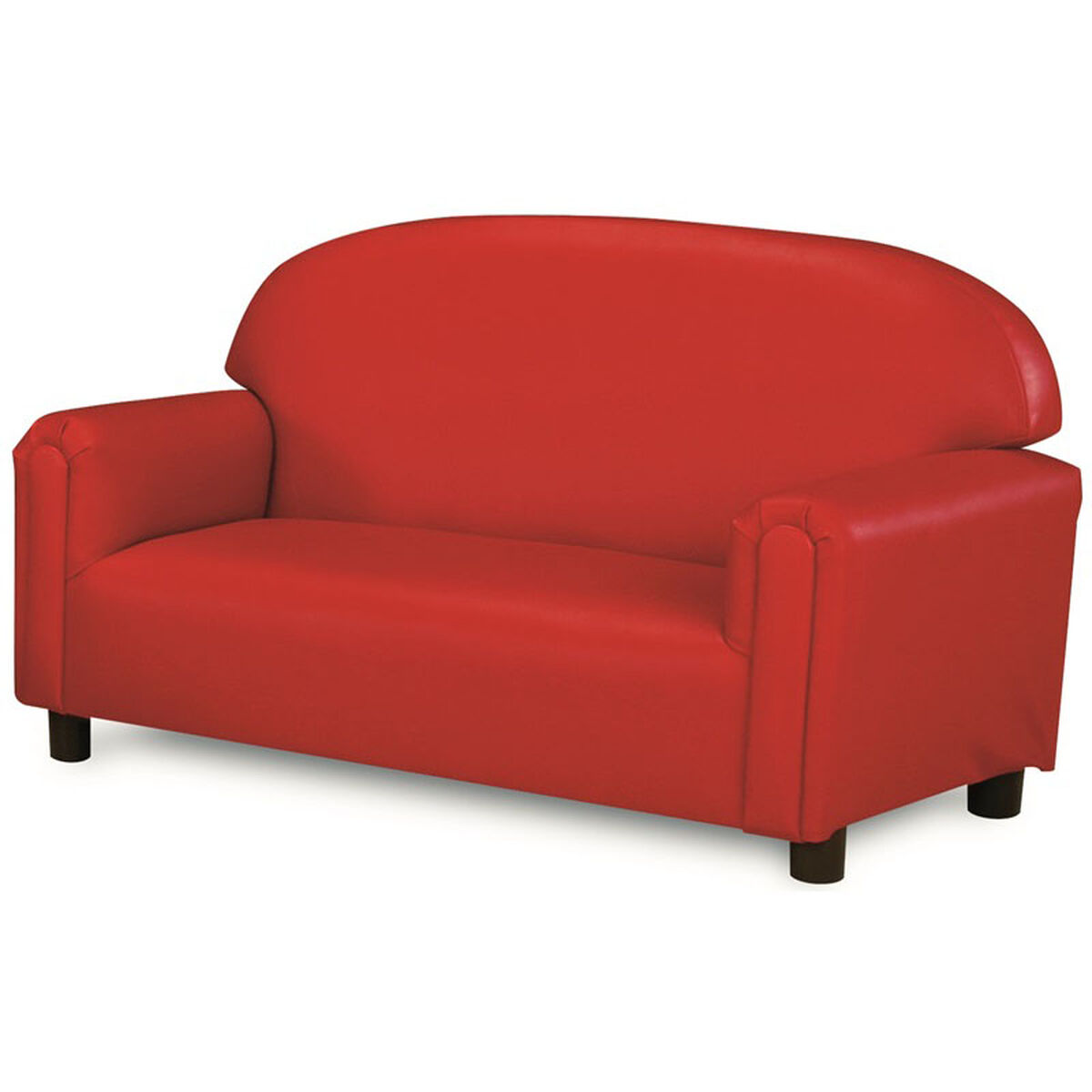 Our Just Like Home Preschool Size Overstuffed Vinyl Sofa Red 38 W