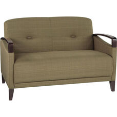 Ave Six Main Street Loveseat with Espresso Finish Legs and Curved Arms - Seaweed