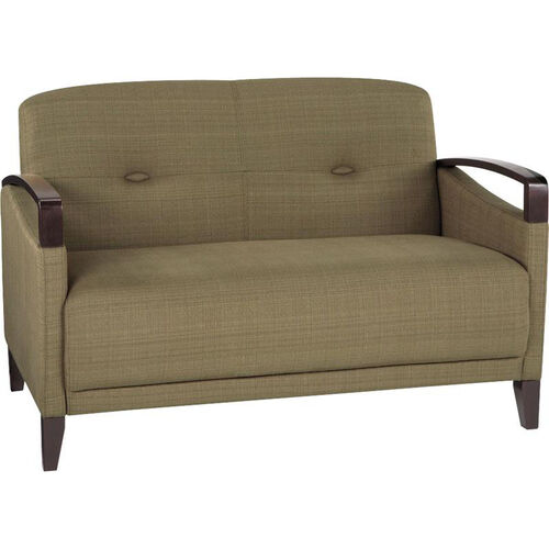 Our Ave Six Main Street Loveseat with Espresso Finish Legs and Curved Arms - Seaweed is on sale now.