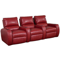 Welbourne Three Seater Home Theater - Straight Arm in Bonded Leather