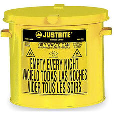 2 Gallon Steel Hand Operated Oily Waste Can - Yellow