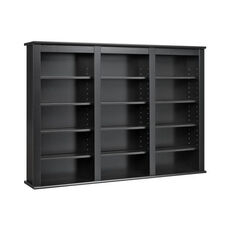 Triple Wall Mounted Storage with 12 Adjustable Shelves - Black