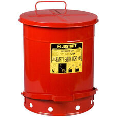 14 Gallon Steel Foot-Operated Oily Waste Can - Red
