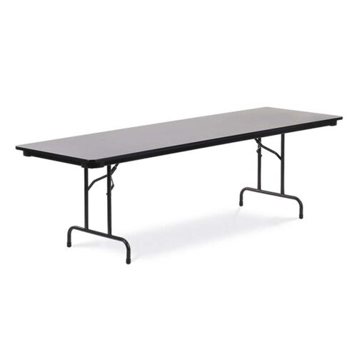 Our Quick Ship 6000 Series Traditional Rectangular Folding Table with Gray Nebula Top and Black Frame - 30