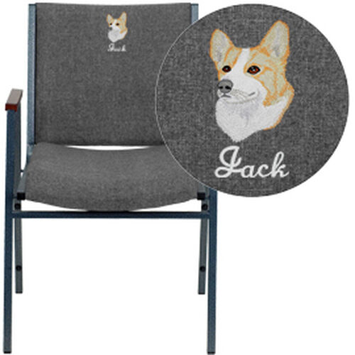 Our Embroidered HERCULES Series Heavy Duty Gray Fabric Stack Chair with Arms is on sale now.