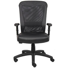 Genuine Leather Boss Web Chair with Adjustable Tension Mesh Back - Black