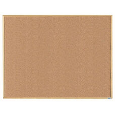 Economy Series Natural Pebble Grain Cork Bulletin Board with Wood Frame - 36''H x 48''W