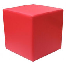 Zurich Indoor Faux Leather Cube Side Table - Red