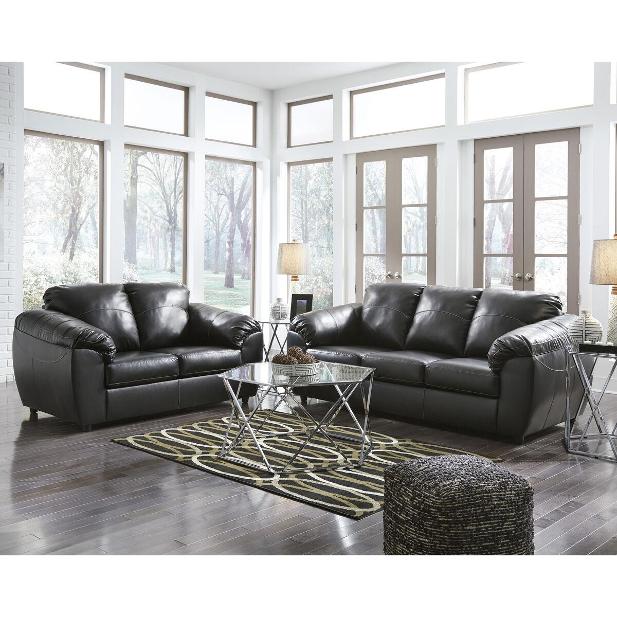 Black Leather Living Set FSD-6529SET-BLK-GG   Bizchair.com