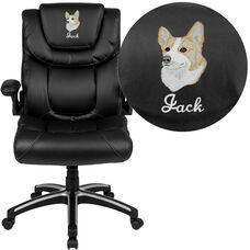 Embroidered High Back Black LeatherSoft Executive Swivel Office Chair with Double Layered Headrest and Open Arms